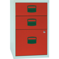BISLEY A4 FILING CABINET 3 DRAWER GREY/RED