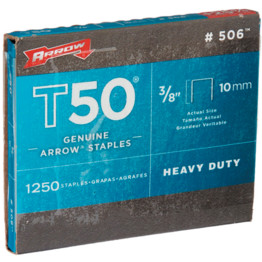 Arrow Fastener t50 10 mm Heavy Duty Staples Box of 1250 3//8 pouces