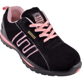 Black/Pink Suede Safety Trainers
