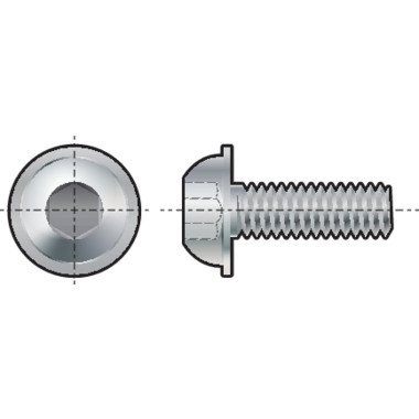 Qualfast Socket Head Button Screw, Metric - Steel - Grade 10 9 - ISO