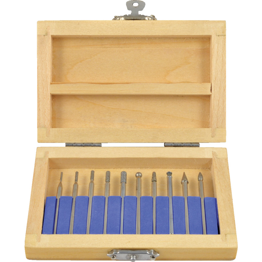Diamond Coated Burr Set with 3 0mm Shank in wooden case - 10 Piece