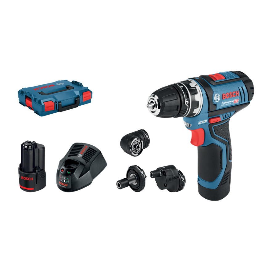 Bosch Professional GSR 12V-15 Cordless Drill Driver with Two 12 V 2.0 Ah Lithium-Ion Batteries L-Boxx