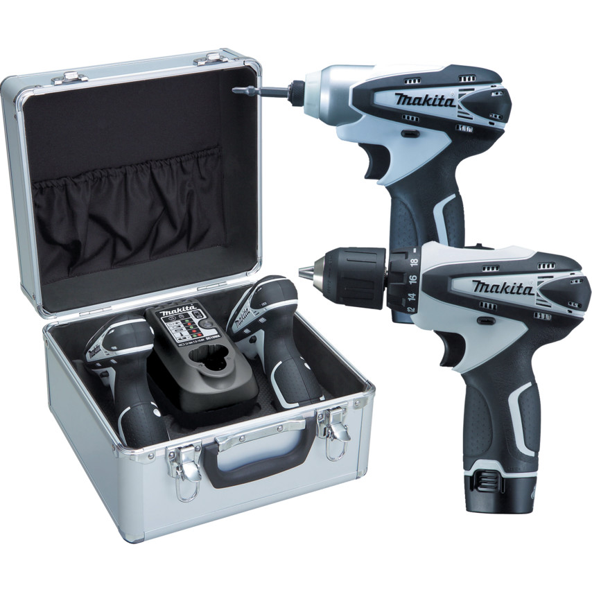 LCT204W 10 8V Kit, TD090D Impact Driver, DF330D Drill/Driver, 2x 10 8V  1 3Ah Battery Packs, Charger & Aluminium Carry Case