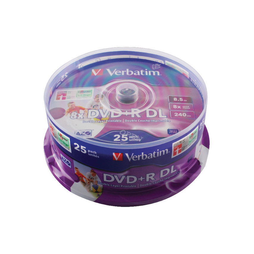 picture regarding Printable Dvds titled 43667 DVD+R 8X Double Layer Broad Inkjet Printable Spindle Pack of 25