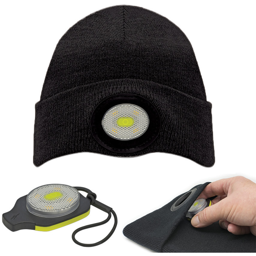 44553fd89 BE-02+ Black USB Rechargeable Beanie Headlight